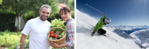 the left image shows a young couple holding a basket of fresh vegetables while the right image is of a mountain skier in a green jacket