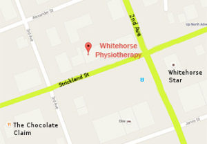 A map showing the location of Whitehorse Physiotherapy at 2-208B Strickland Street.
